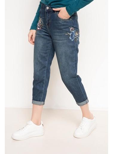 DeFacto Nakış İşlemeli Denim Pantolon Mavi